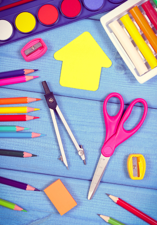 School and office accessories on boards, concept of back to school Stock Photo