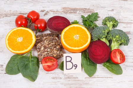 Nutritious different ingredients containing vitamin B9, dietary fiber, natural minerals and folic acid, healthy nutrition concept