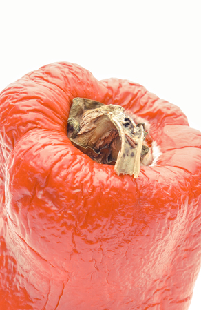 Old wrinkled peppers with mold on white background, unhealthy food