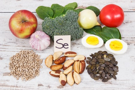 Natural ingredients or products as source selenium, vitamins, minerals and dietary fiber, concept of healthy nutrition
