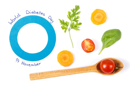 Fresh vegetables and blue circle as symbol of world diabetes day, concept of healthy nutrition during disease Stock Photo