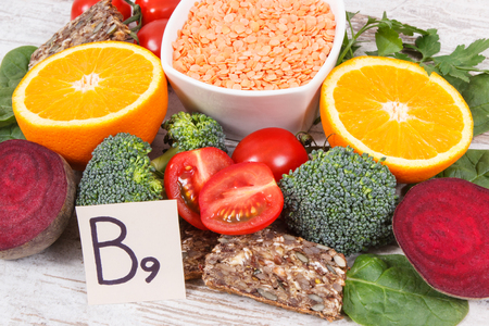 Nutritious products containing vitamin B9, natural sources of minerals and folic acid, concept of healthy nutrition Stock Photo - 113760919