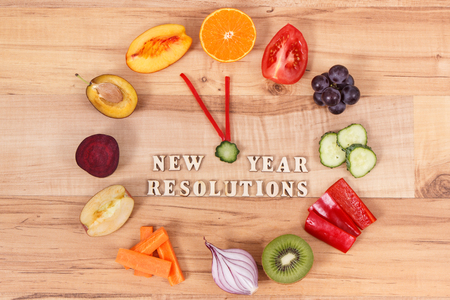 Fresh ripe fruits with vegetables. Healthy lifestyles and new year resolutions concept