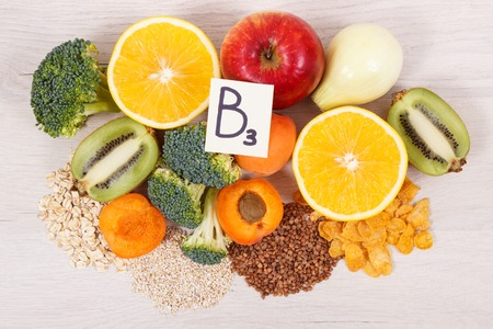 Nutritious ingredients and products containing vitamin B3 and other natural minerals, concept of healthy lifestyle and nutrition Stock Photo