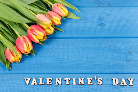 Bouquet of fresh tulips and inscription Valentines Day on blue boards, place for text 版權商用圖片