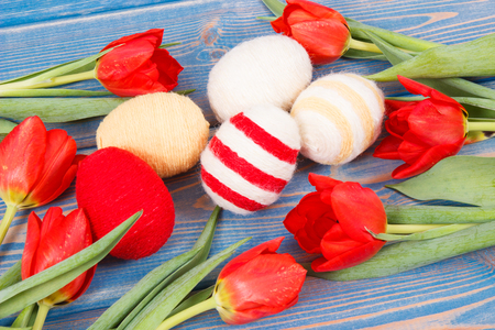Easter eggs and fresh red tulips on blue boards, festive decoration concept