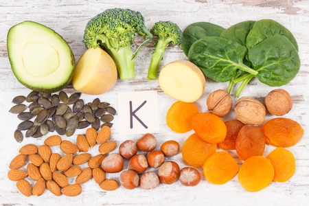 Fresh fruits and vegetables containing vitamin K, potassium, dietary fiber and natural minerals, healthy nutrition concept