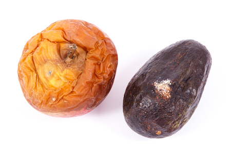 Old wrinkled fruits with mold on white