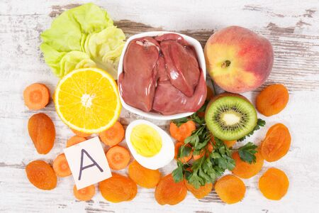 Nutritious eating containing vitamin A and dietary fiber, healthy nutrition as source natural minerals Imagens