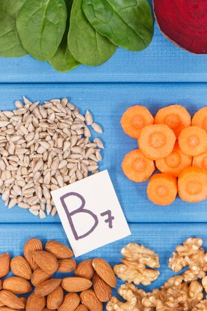 Nutritious different ingredients containing vitamin B7, dietary fiber and natural minerals, healthy nutrition concept Фото со стока