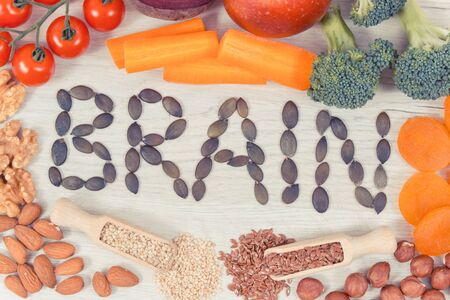 Healthy nutritious eating as source vitamin and minerals, concept of best food for brain health and good memory