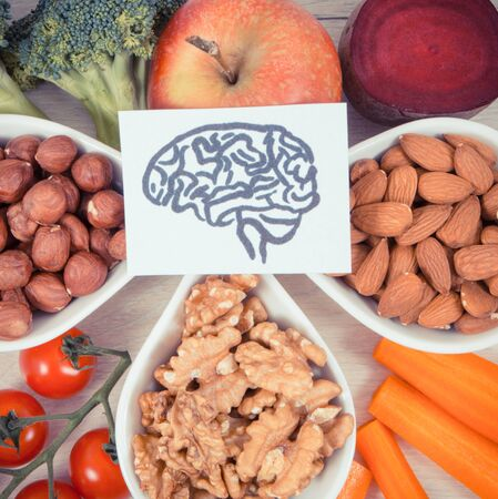 Vintage photo, Drawing of brain and best food for health and good memory, concept of healthy eating