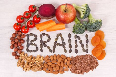 Inscription brain and best nutritious healthy natural food for health and good memory Фото со стока