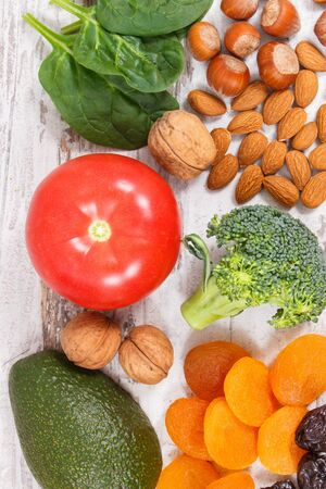 Natural ingredients or products as source potassium, vitamin K, minerals and dietary fiber, healthy nutrition concept