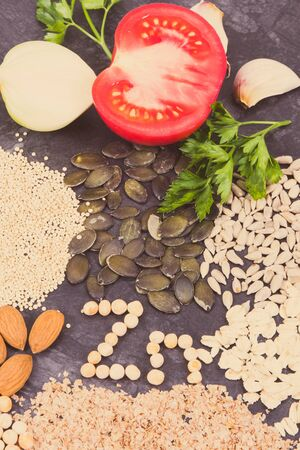 Different nutritious ingredients as source zinc, minerals and dietary fiber. Concept of healthy lifestyle and nutrition Фото со стока