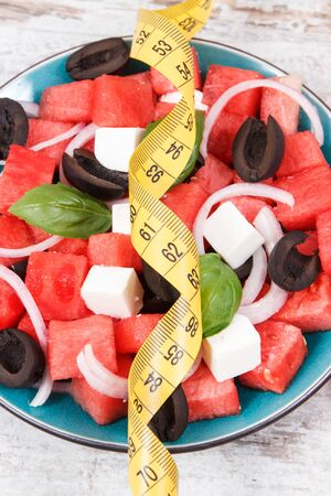 Fresh prepared salad of watermelon and feta cheese as source healthy natural minerals Stock Photo