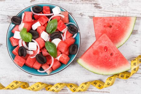 Fresh salad of watermelon and feta cheese as source healthy natural minerals Stock Photo