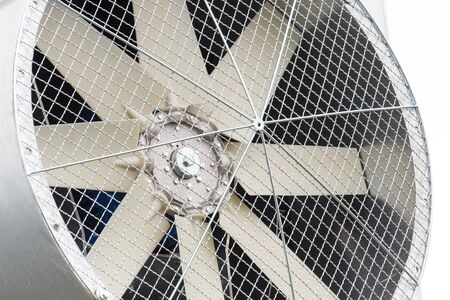 Closeup of ventilation fan, part of big grain dryer, technology and engineering concept Stockfoto