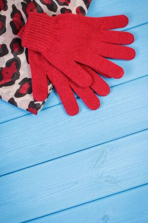 Woolen gloves and colorful shawl for woman. Warm clothing for autumn or winter. Place for text on boards