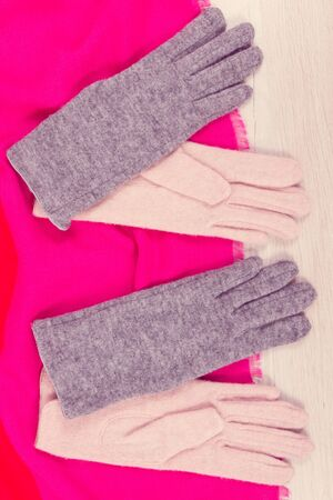 Colorful gloves and shawl for woman made of wool or cotton, concept of warm clothing for autumn or winter Stok Fotoğraf