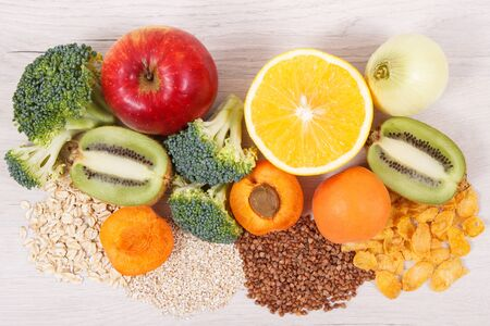 Nutritious natural ingredients containing vitamin PP, dietary fiber and minerals, concept of healthy eating