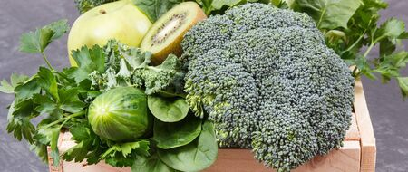 Fresh ripe natural fruits and vegetables as source natural vitamins. Body detox using green ingredients concept