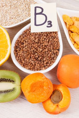 Nutritious food as source vitamin B3, dietary fiber and minerals, concept of healthy lifestyles