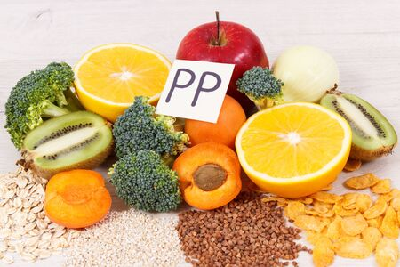 Nutritious products containing vitamin PP and other natural minerals, concept of healthy eating and lifestyle