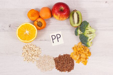 Healthy nutritious food as source vitamin PP, B3, dietary fiber and other natural minerals