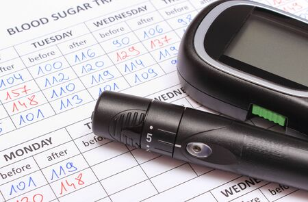 Glucose meter and lancet device on medical forms for measurement sugar in blood. Checking sugar level concept Imagens