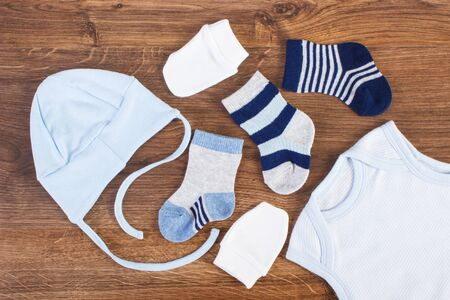 Blue clothing for baby boy, expecting for newborn concept