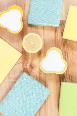 Accessories and natural, nontoxic detergents for cleaning different surfaces at home, concept of household duties Reklamní fotografie