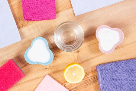 Colorful domestic accessories and natural, nontoxic detergents for cleaning different surfaces, concept of household duties Reklamní fotografie