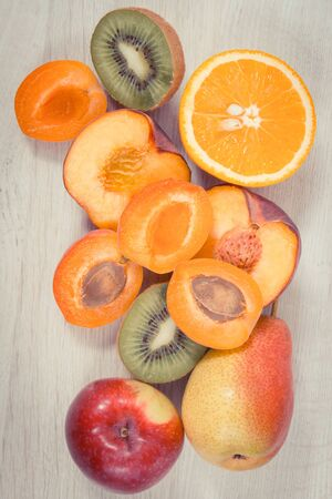 Closeup of fresh healthy nutritious food as source natural vitamins, dietary fiber and minerals