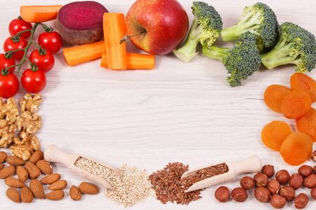 Frame of healthy food for power and good memory, nutritious eating containing natural vitamins and minerals Stok Fotoğraf