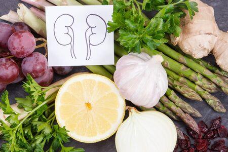 Tekening van nieren en vers gezond eten met natuurlijke vitamines en mineralen