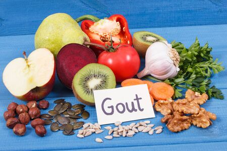 Nutritious food to treat gout inflammation and for kidneys health. Healthy lifestyles concept