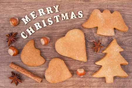 Fresh baked homemade gingerbreads and cookies for festive time