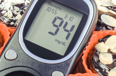 Glucometer with result of sugar level and fresh baked homemade chocolate muffins. Delicious dessert for diabetics