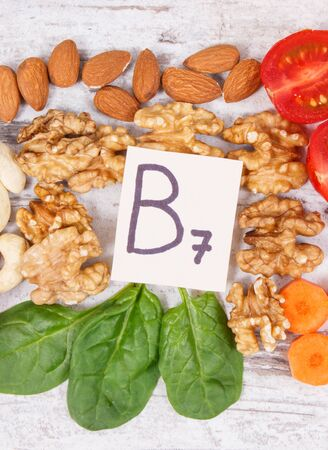 Nutritious different ingredients containing vitamin B7, dietary fiber and natural minerals, healthy nutrition concept Stock Photo
