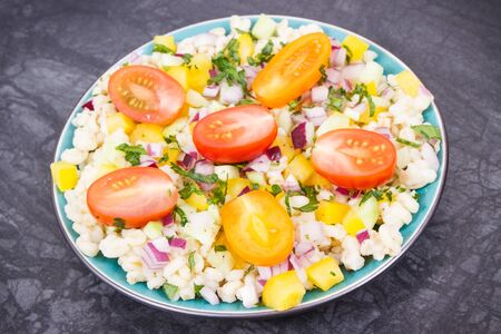 Fresh prepared salad with bulgur groats and vegetables as best food for dieting and slimming containing minerals and vitamins Zdjęcie Seryjne