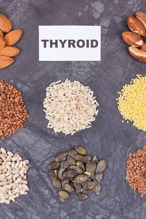 Nutritious products and ingredients as source vitamins and minerals for healthy thyroid Stock Photo