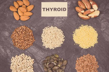 Products and ingredients as best food for healthy thyroid. Natural eating containing vitamins and minerals