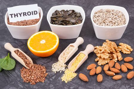 Products and ingredients as source natural vitamins and minerals. Beneficial eating for thyroid gland concept Stock Photo