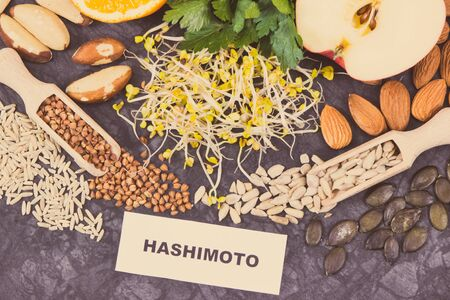 Inscription hashimoto with beneficial nutritious eating for thyroid gland. Healthy ingredients as source natural vitamins and minerals Stock Photo