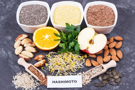 Inscription hashimoto with nutritious natural products and ingredients containing vitamins for healthy thyroid