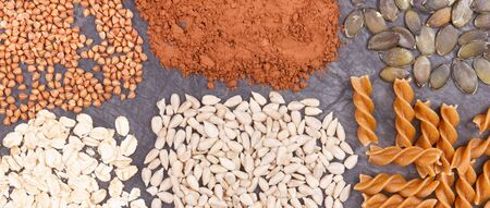 Nutritious eating containing magnesium. Healthy nutrition as source natural vitamins, minerals and dietary fiber