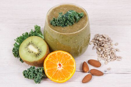 Fresh healthy smoothie from fruits, vegetables and other ingredients as source natural vitamins and minerals