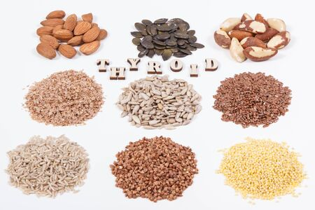 Products and ingredients as best food for healthy thyroid. Natural eating containing vitamins and minerals. White background