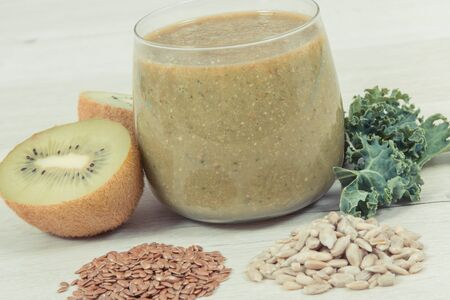 Freshly blended coctail from fruits and vegetables. Healthy dessert containing natural vitamins and minerals